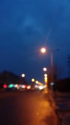 梦幻夜景路灯图片