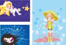 矢量卡通插画人物女孩图片