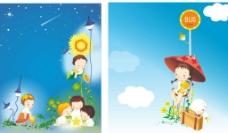 矢量儿童情景插画图片