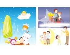 矢量情景家庭儿童插画图片
