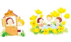 矢量情景插画儿童生活图片