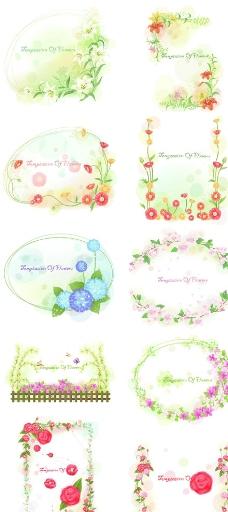韩国精美花卉花边矢量素材图片