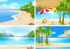 夏季沙滩插画图片