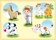 卡通农场人物和动物形象