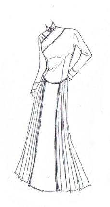 手绘旗袍设计图
