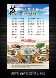 蒸汽烹调时间表