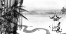 中国风水墨亭子竹