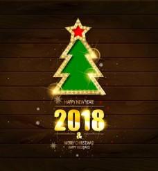 2018年新年有圣诞金木制背景矢量海报