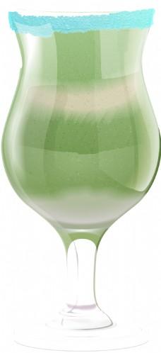 水彩手绘一杯绿色饮品透明饮料素材