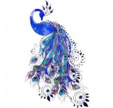 卡通蓝色漂亮孔雀png元素