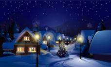 圣诞夜的小镇图片