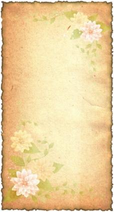 复古花卉纸张背景图片