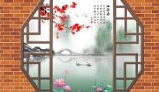 江南风光3D立体电视背景墙画图片