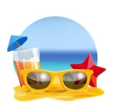 夏季沙滩太阳镜插画图片
