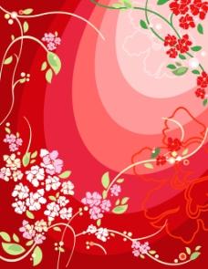 红色背景花纹素材