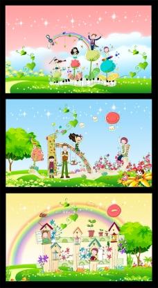 六一儿童节学校卡通背景图片psd素材下载