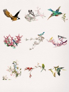 漂亮水墨中国风飞翔喜鹊
