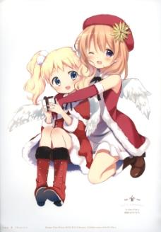 圣诞美少女动漫插图