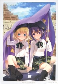 制服旗帜美少女动漫插图