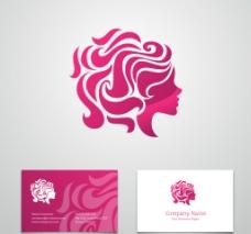 女子头像标志名片矢量素材图片