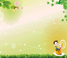 淡雅卡通展板背景图片
