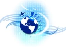 蓝色商务旅行背景图片