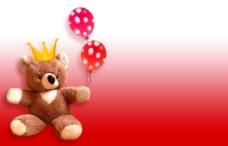 可爱小熊红色背景图片