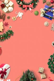 扁平喜庆圣诞节粉色背景