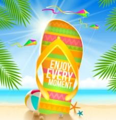 创意沙滩拖鞋 插画图片