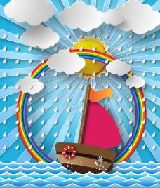 帆船和彩虹剪贴画图片