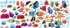 卡通海洋生物鱼类PSD设计素材