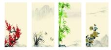 中国风梅兰竹菊展板背景
