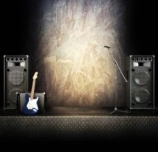 音响乐器舞台背景图片