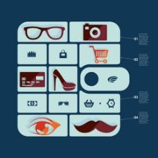 办公眼镜鞋子胡子眼镜相机购物车文字矢量
