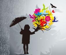 雨天鲜花人物剪影矢量图
