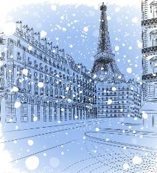 冬季巴黎雪景图片
