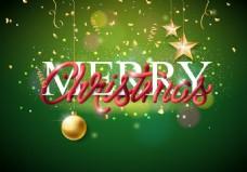 圣诞球装饰和绿色圣诞背景的金色星星ai矢量