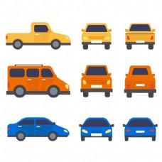 多款卡通小轿车元素设计