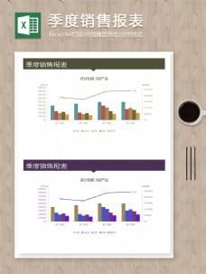 公司季度销售报表柱形折线图表