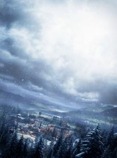 松树天空乌云图片