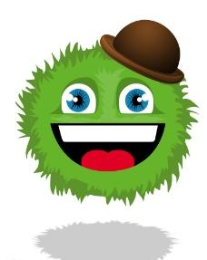 绿色带帽毛球人图片