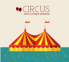 彩色马戏团帐篷插画