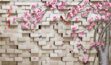 3D砖墙花卉树(不分层)图片