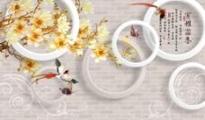 3D砖墙玉兰花(不分层)图片