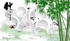 3D圆圈竹子壁画(不分层)图片