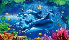 3D海洋世界背景墙图图片