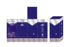 蓝色酒盒包装图片