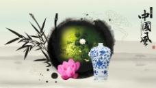 水墨古董文化展板图片