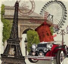 复古法国元素海报矢量素材图片