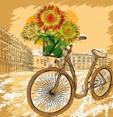 城市自行车向日葵图片